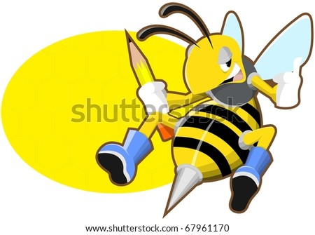 cheerful bee holding a pencil