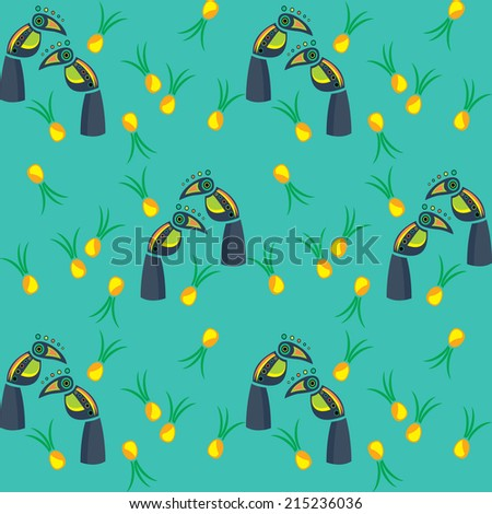 cheerful birds Toucan, printing on fabric - stock vector