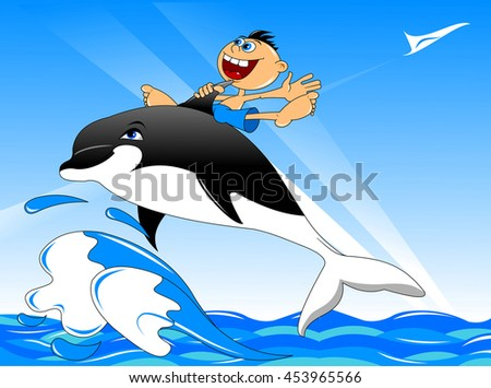 Cheerful boy on the back of a large black dolphin, vector