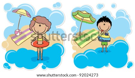 Cheerful boy playing with ship and cheerful cute girl with inner tube on the beach