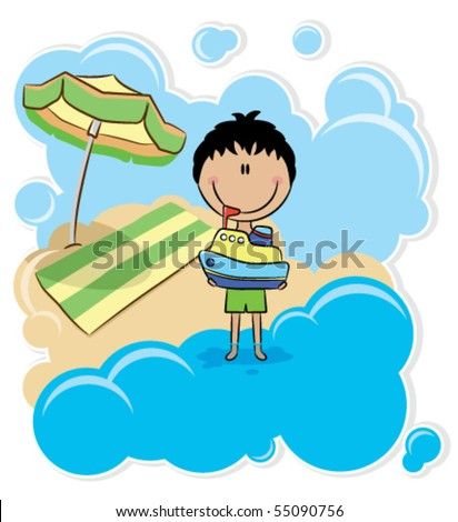 Cheerful boy playing with ship on the beach