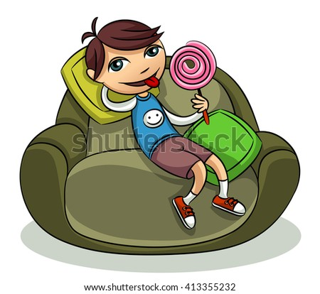 Cheerful boy with a lollipop resting on the couch - stock vector