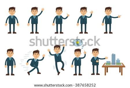 Cheerful businessman character set 1 - stock vector