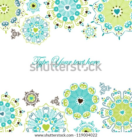 Cheerful card with stylized heart flakes - stock vector