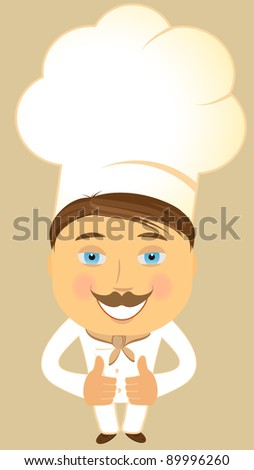 cheerful cartoon happy cook showing thumb up - stock vector