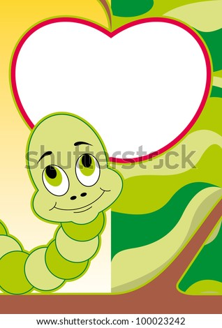 cheerful caterpillar card. vector illustration