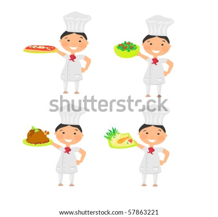 Cheerful chef serving dishes - stock vector