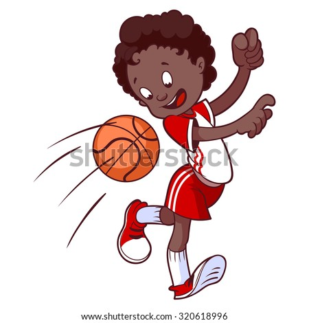 Cheerful child playing in dodgeball. Cartoon vector illustration. - stock vector