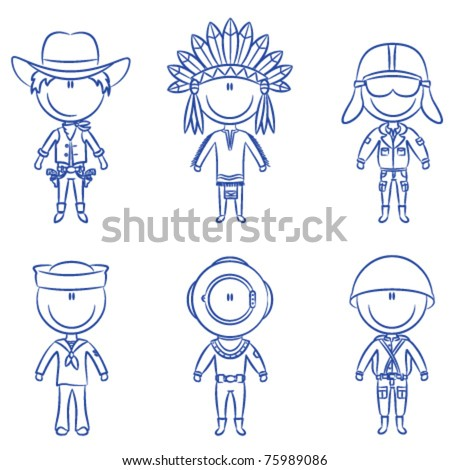 Cheerful children dressed in costumes of male occupations - stock vector