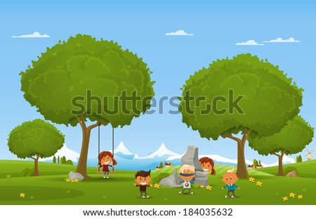 Cheerful children play outdoors. Vector illustration - stock vector