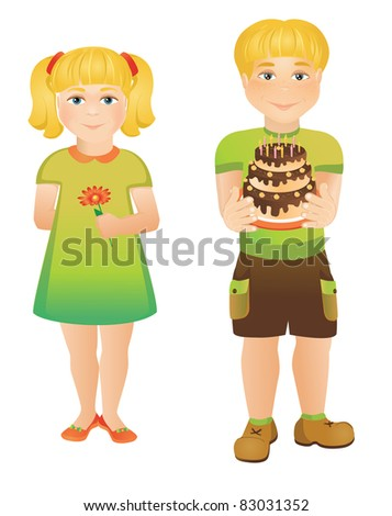 cheerful children with cake and flower - stock vector
