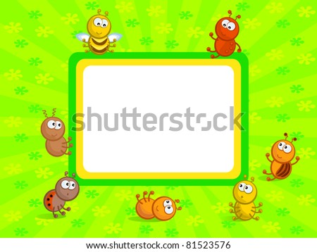 Cheerful comical insects in different poses. Background green. Frame. - stock vector