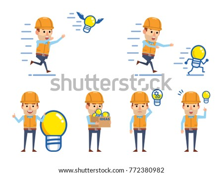 Cheerful construction workers posing with idea light bulb. Funny worker holding box full of idea light bulbs, running and showing other actions. Flat style vector illustration