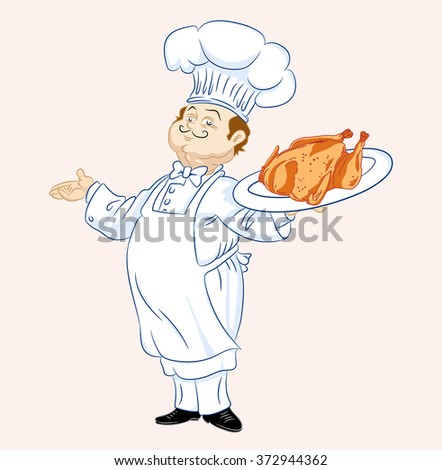 Cheerful cook in an apron with a tray and chicken - stock vector