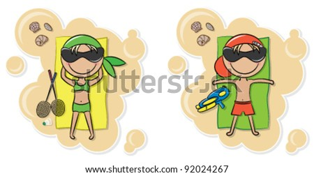 Cheerful cute boy and girl relax on the beach after game - stock vector