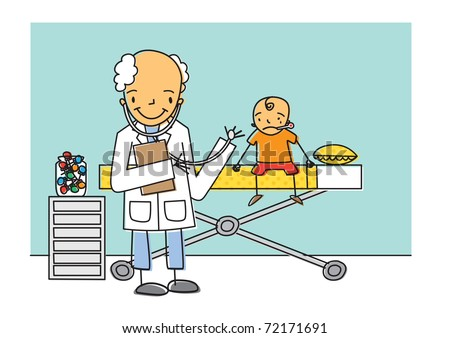 Cheerful doctor examines a young boy who is a sick patient in hospital, illustration vector image - stock vector
