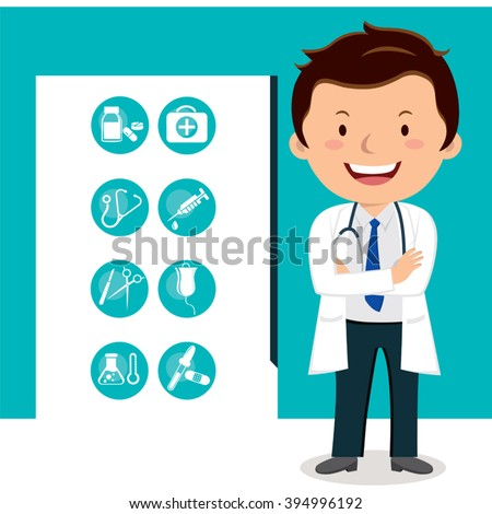 Cheerful doctor with medical icons. Vector illustration of a smiling doctor with medical icons. - stock vector