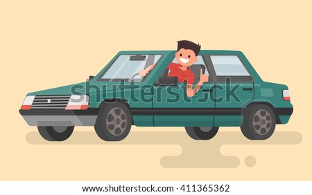 Cheerful driver behind the wheel of a car. Vector illustration - stock vector