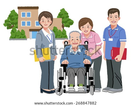 Cheerful elderly person in wheelchair with his nursing caretakers and with nursing home in distance.