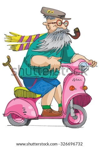 cheerful eldery person is riding on a scooter - cartoon  - stock vector