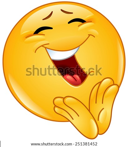 Cheerful emoticon clapping - stock vector