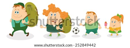 Cheerful family of tourists, father and mother with backpacks, son with soccer ball and daughter with ice-cream going on vacation. Vector - stock vector
