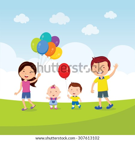 Cheerful family running with balloons. Vector illustration of a lovely family having fun with balloons. - stock vector