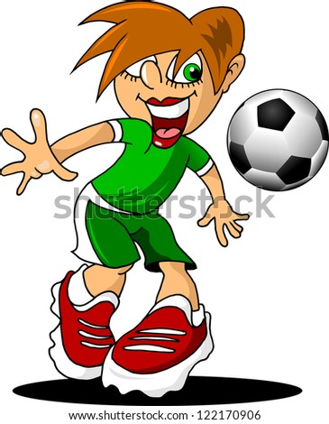 cheerful footballer takes the ball (vector illustration);