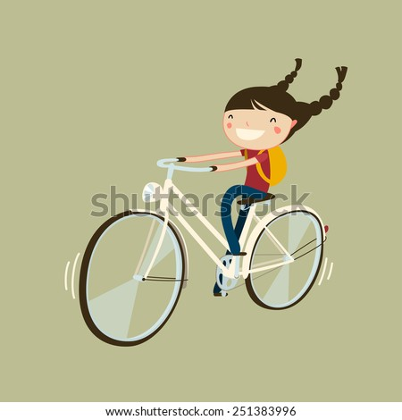 cheerful girl riding a bicycle. isolated cartoon character. cute girl on bike. - stock vector