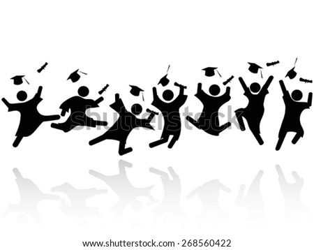 cheerful graduated students jumping - stock vector