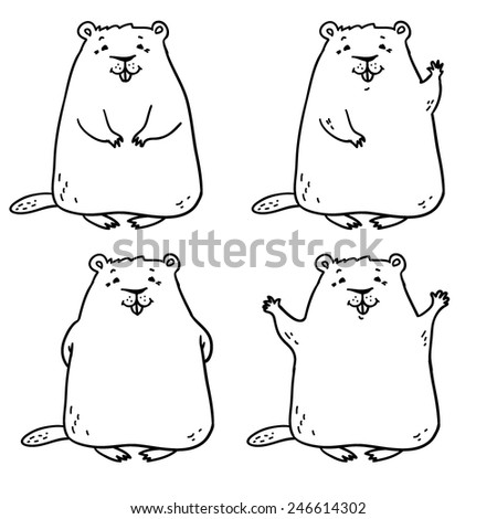 Cheerful groundhog. Groundhog Day - stock vector