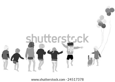 cheerful group of barefoot kids - stock vector