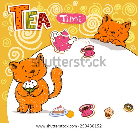 Cheerful illustrative card with the lovely red cats characters - stock vector