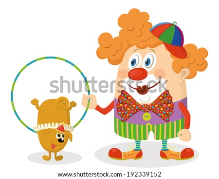 Cheerful kind circus clown in colorful clothes with hoop, through which jumping trained dog, holiday illustration, funny cartoon character isolated on white background. Vector - stock vector