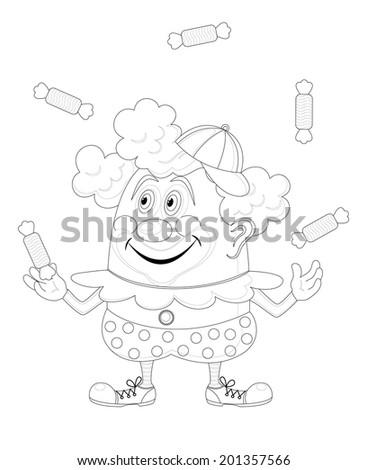 Cheerful kind circus clown juggling candies, holiday illustration, funny cartoon character, black contour isolated on white background. Vector - stock vector