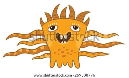 cheerful little monster - stock vector