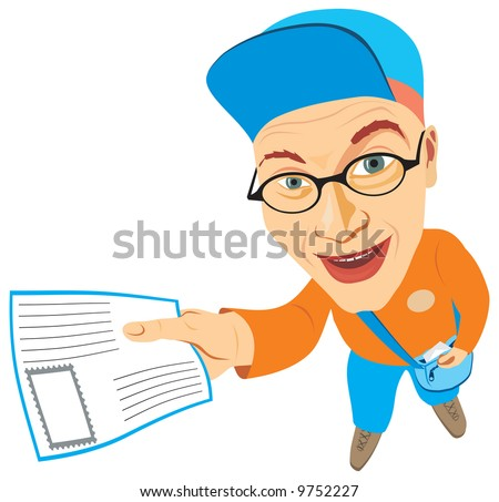 Cheerful mailman holding a letter in his hand. Vector illustration - stock vector