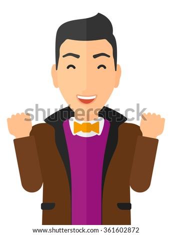 Cheerful man experiencing euphoria. - stock vector
