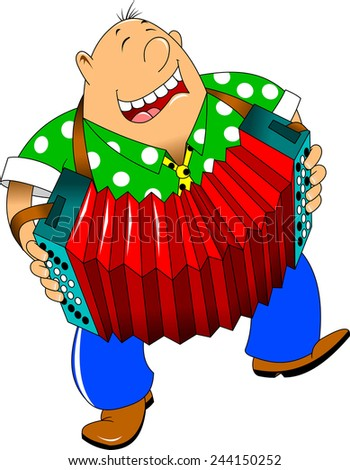 cheerful man playing the accordion and dancing - stock vector