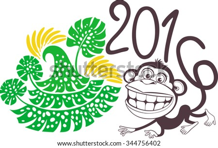 Cheerful monkey with sixes on the tail. Christmas tree made of palm trees. - stock vector