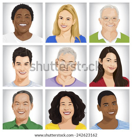 Cheerful Multi-ethnic Group Vector