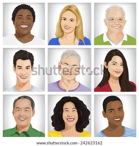 Cheerful Multi-ethnic Group Vector - stock vector
