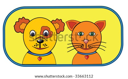 Cheerful pets (dog and cat) in blue frame.