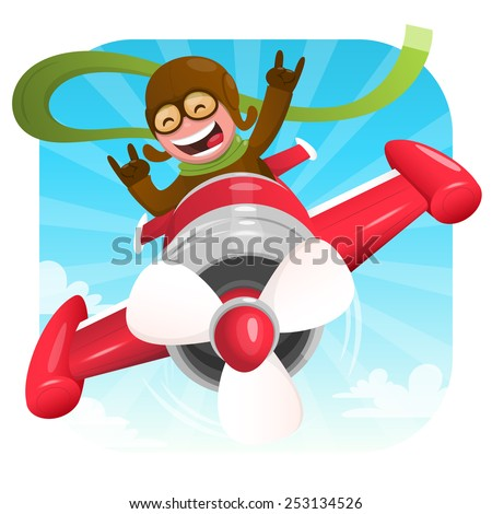 Cheerful pilot in a red plane. Vector illustration - stock vector