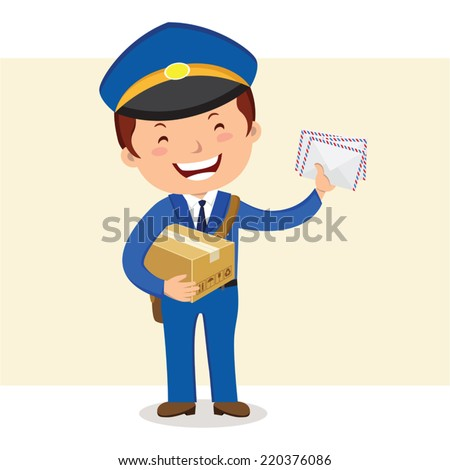 Cheerful postman. Friendly postman in blue uniform with bag and letters.