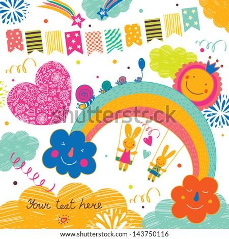 Cheerful rabbits. Cute postcard. - stock vector
