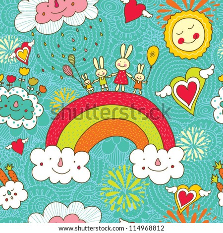 Cheerful rabbits walk over the rainbow. Seamless pattern can be used for wallpaper, pattern fills, web page background, postcards. - stock vector