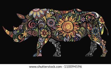 Cheerful rhinoceros I - stock vector