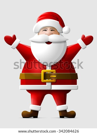 Cheerful Santa Claus standing in full length. Santa in christmas costume with his hands up. Vector illustration for christmas, new year's day, winter holiday, new year's eve, silvester, etc