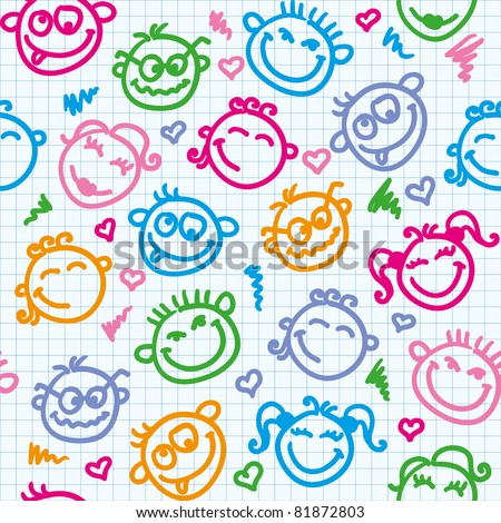 cheerful seamless pattern with color funny faces - stock vector